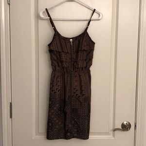 Xhilaration Zipper Sun Dress in Dark Mauve Pattern